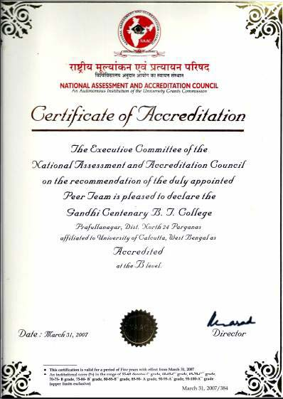NAAC Accreditation Cycle I Certificate